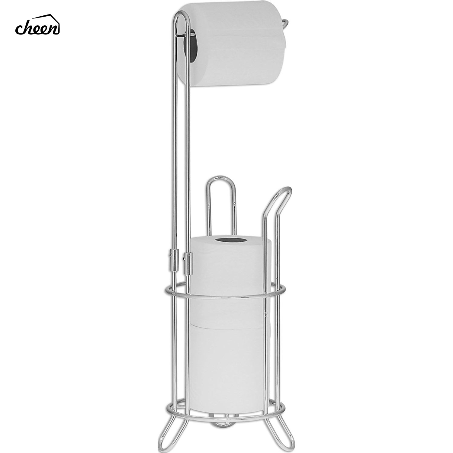 Freestanding Toilet Paper Roll Holder and Dispenser For Bathrooms Silver Toilet Stand with Extra Roll Storage For Up To 4 RollsFreestanding Toilet Paper Roll Holder and Dispenser For Bathrooms Silver Toilet Stand with Extra Roll Storage For Up To 4 Rolls