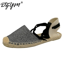 DZYM 2017 Straw Linen Espadrille Ankle Strap Women Ballet Flats Platform Loafers Quality Fisherman Shoes Leopard Zapatos Mujer