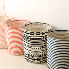 Real Fabric New Sale Folding Storage Baskets Zakka Japanese Household Cloth Stripe Linen Waterproof Barrel Of Dirty Clothes