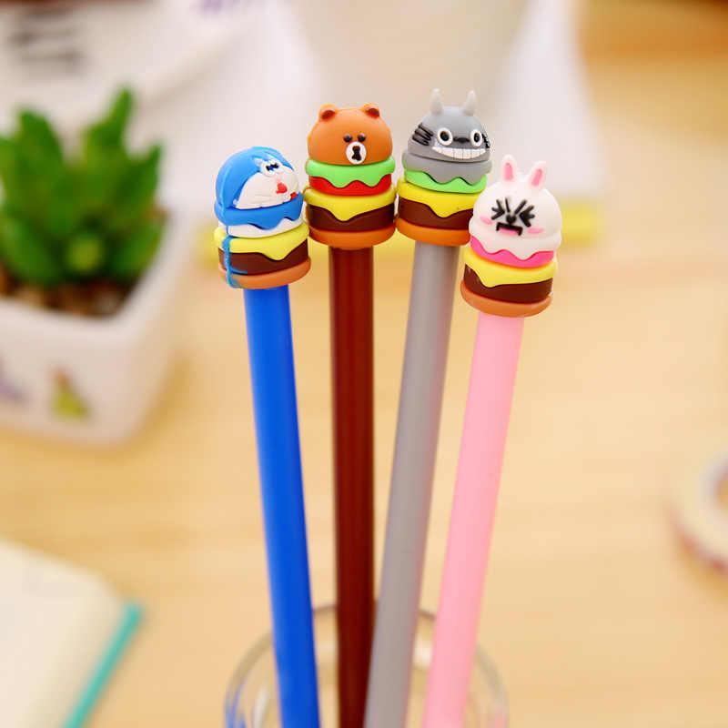 1 Pcs קוריאני מכתבים חמוד Cartoon עוגת המבורג ניטראלי תלמידי עט סימן עט עם שחור ליבת ג 'ל עט חמוד נייח