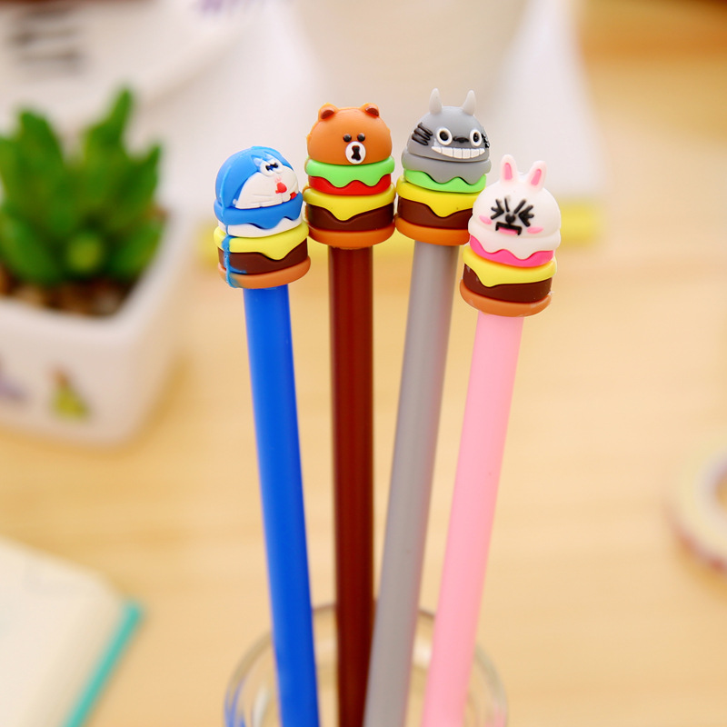 1 Pcs Korean Stationery Cute Cartoon Cake Hamburg Neutral Pen Students Sign Pen With Black Core Gel Pen Cute Stationary