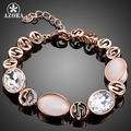 AZORA Rose Gold Plated Gorgeous Party Jewelry With Pink Opal and Clear Stellux Austrian Crystal Bracelet TS0130