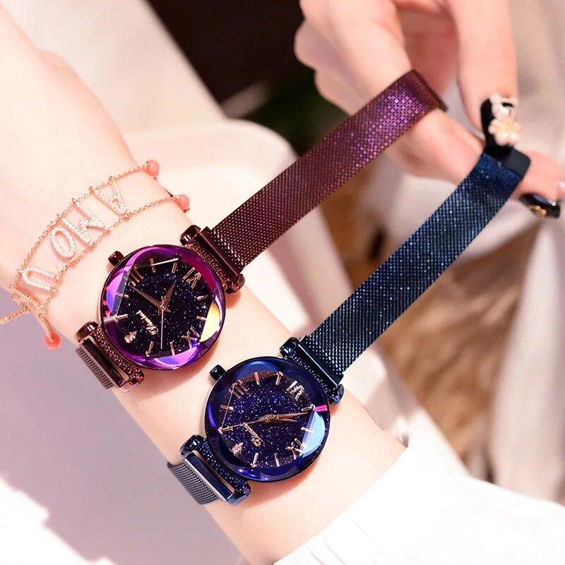 лучшая цена 2018 Fashion Women Watches Lady Watch Mesh Belt Magnetic Strap Dress Women Watch Luxury Quartz Watches Gifts Dropshipping