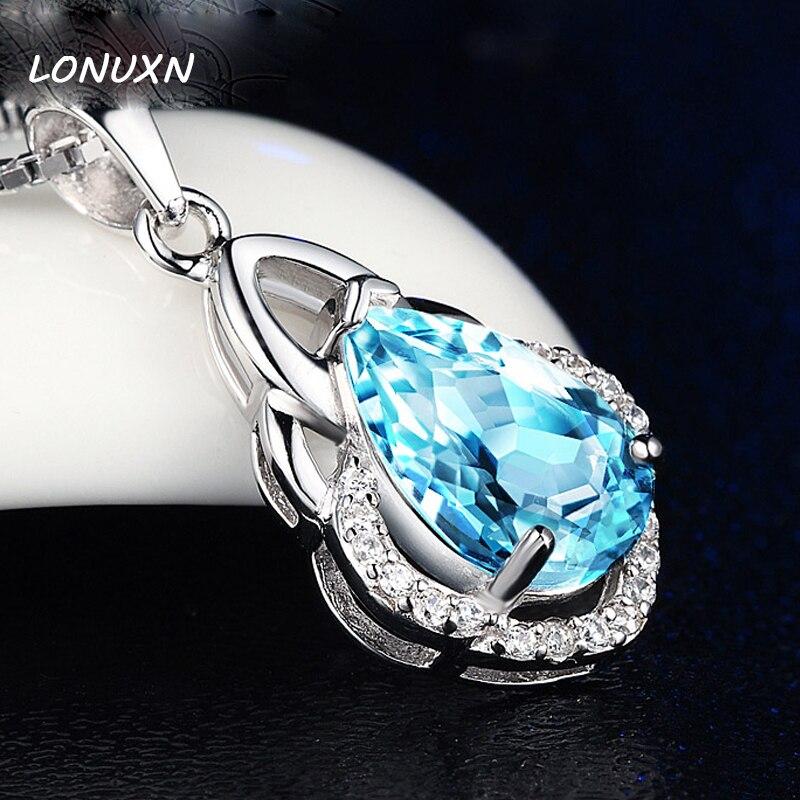 14*21 m naturel bleu cristal nouveauté colliers pendentif mode réel 100% pur 925 sterling-argent-bijoux simple filles cadeau