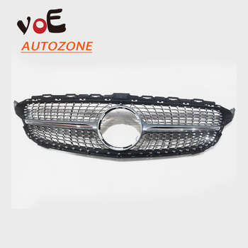 W205 Silver Diamond Style Front Mesh Racing Grill Grille for Mercedes-Benz W205 C-class C180 C200 C220d C250 C260 C400 2015-2018