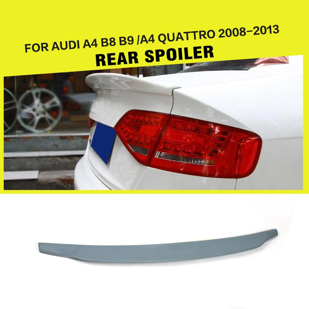 PU unpainted grey primer car rear trunk lip auto boot spoiler wing lip for Audi A4 B8 B9 2008-2013 pu rear wing spoiler for audi 2010 2011 2012 auto car boot lip wing spoiler unpainted grey primer