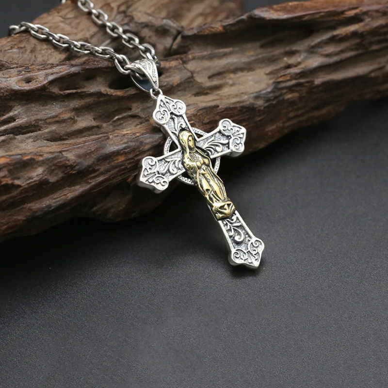 Cross Pendant 100% Real 925 Sterling Silver Virgin Mary Punk Vintage Chain Necklace Pendant Men Jewelry Wholesale ZN1