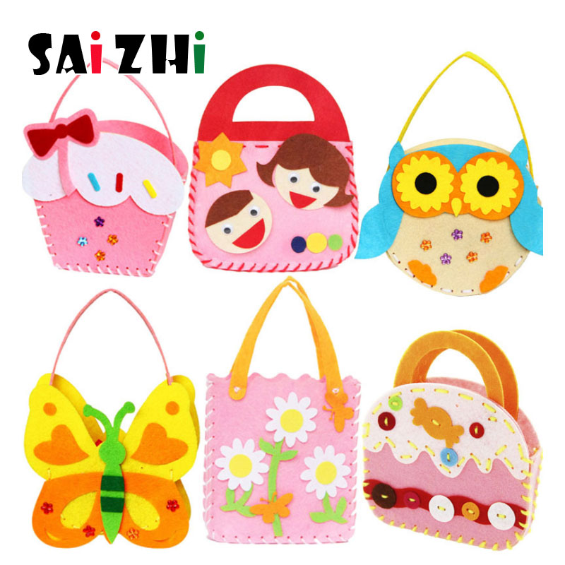 Saizhi Multicolo Handmade Bag Lovely Animals Children Handmade Bags DIY Crafts For Kids Interactive Educational ToysSZ3620