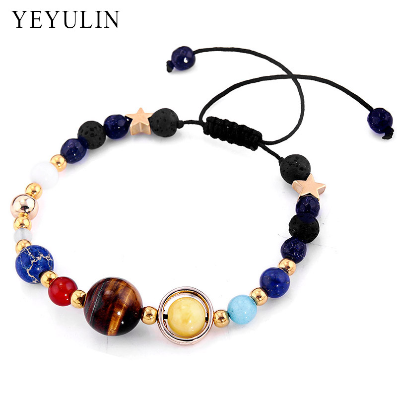 Universe Galaxy the Eight Planets In The Solar System Guardian Star Lava Reiki Stone Beads Adjustable Bracelet & Bangle Jewelry