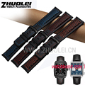 new Fashion soft &Ventilation Men's Watch Leather Watch Band Black orange red blue stitches Genuine Leather Strap Accessories