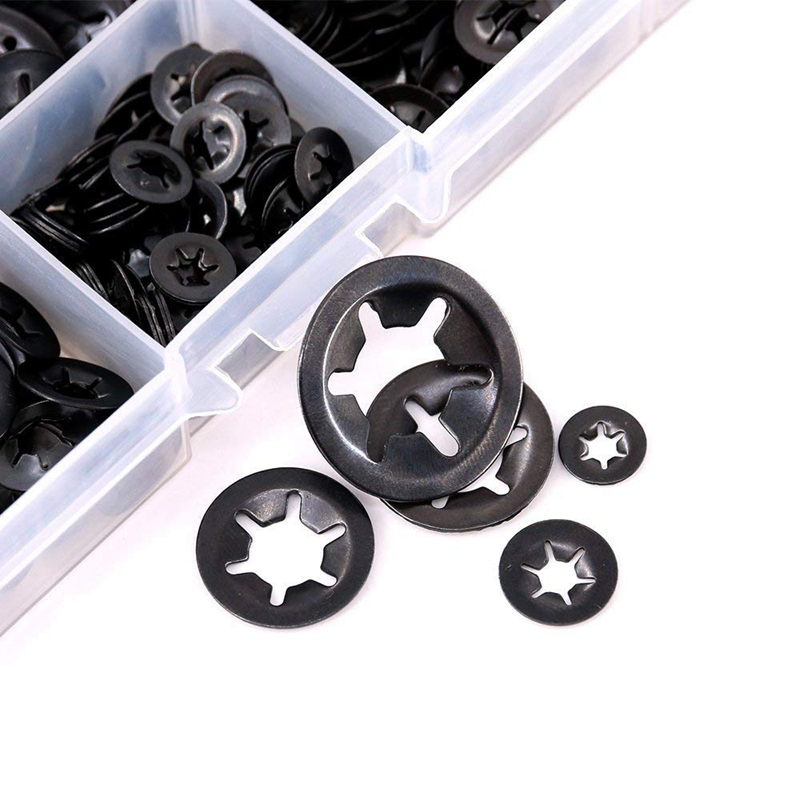 340Pcs Internal Tooth Starlock Washers Quick Speed Locking Washers Push on Speed Clips Fasteners Assortment Kit Black Oxide Fi in Gaskets from Home Improvement