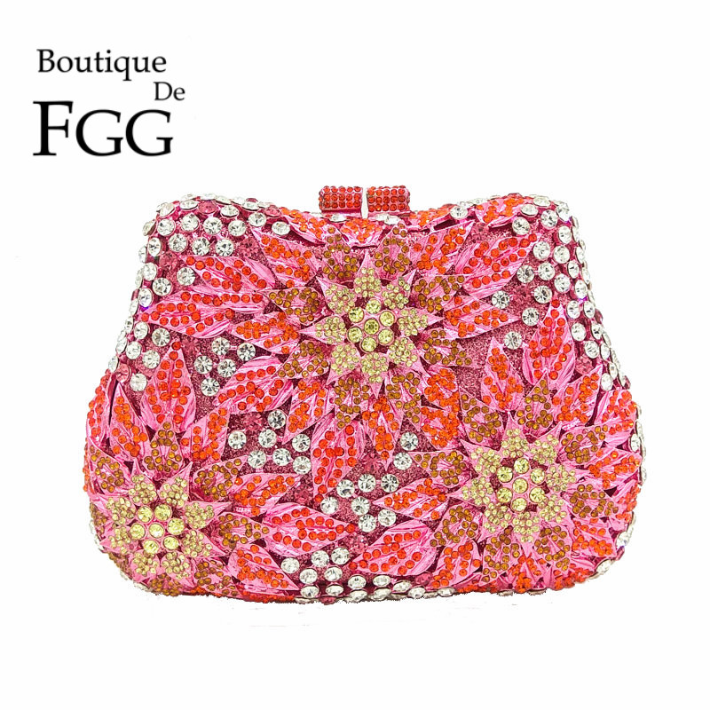 Boutique De FGG Pink Multi Crystal Flower Hollow OUt Women Crystal Clutches Bags Evening Purse Bridal Wedding Party Handbag harpelunde flat shoes leopard print red casual shoes brand men footwear free drop shipping size 7 14