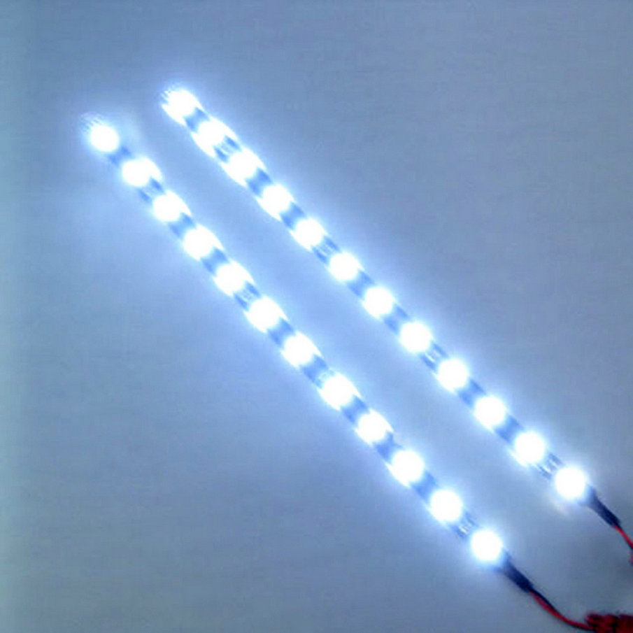New Arrival 30cm Flexible Car LED Light 12V 15 LED 8W Car Auto Motorcycle Strip Lamp Flexible Light Drop Shipping