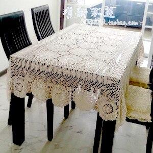 85 см квадратная бежевая вязаная кружевная скатерть для дома Декоративная скатерть с вырезом Цветочная Крышка для скатерти салфетка полотенце