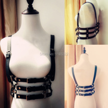100% Handmade Real Leather Harness / Three Row Line Body Bondage Cage