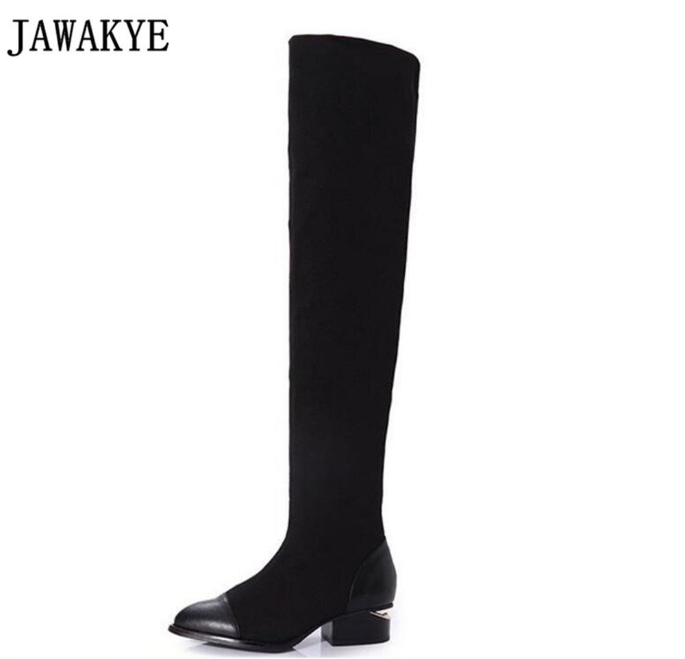 JAWAKYE elastic stretch fabric Thigh High Boots metal decor cut out med Heel patchwork Over the Knee boots sock shoes women