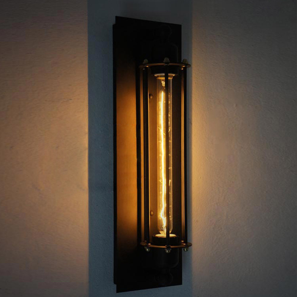 novelty test tube design iron black sconce e27 edison industrial wall lamp handmade decorative arandela antique