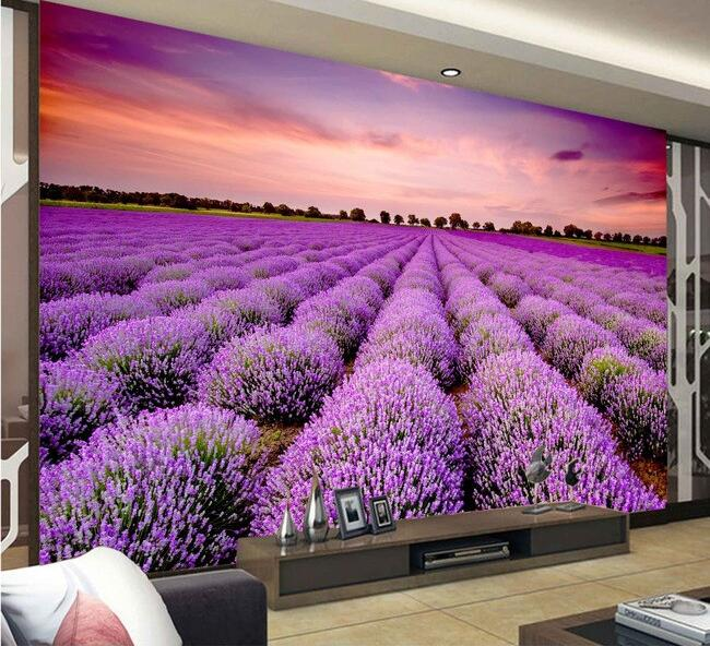 3d wallpaper benutzerdefinierten wandbild vlies 3d wallpaper sonnenaufgang lila lavendel blume feld hintergrund 3d wandbild tapete - Lavendel Tapete