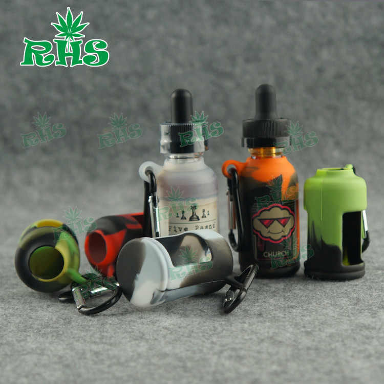2pcs E Liquid Bottles Carrying Case Silicone Cover  portable 19 colors 30ml bottle eliquid holder free shipping