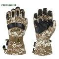 FREE SOLDIER hiking&camping ski gloves thicken non-slip men glove waterproof sheep leather glove