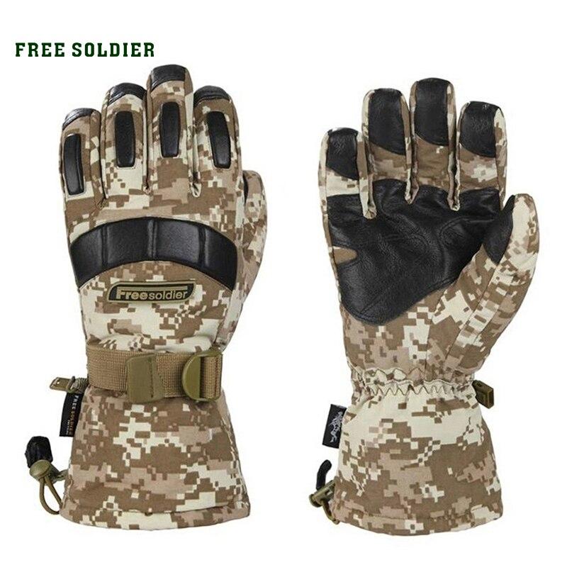 Prix pour SOLDAT GRATUIT randonnée et camping ski gants épaississent non-slip hommes gant étanche moutons en cuir gant