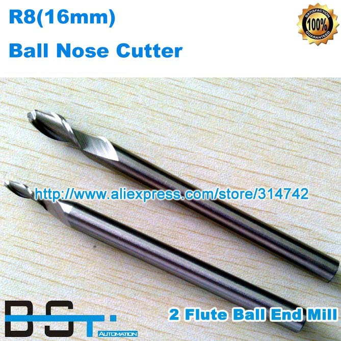 Free shipping for New 16 00mm R8 16mm Shank 2 Flutes Ball Cutter Nosed End Mill