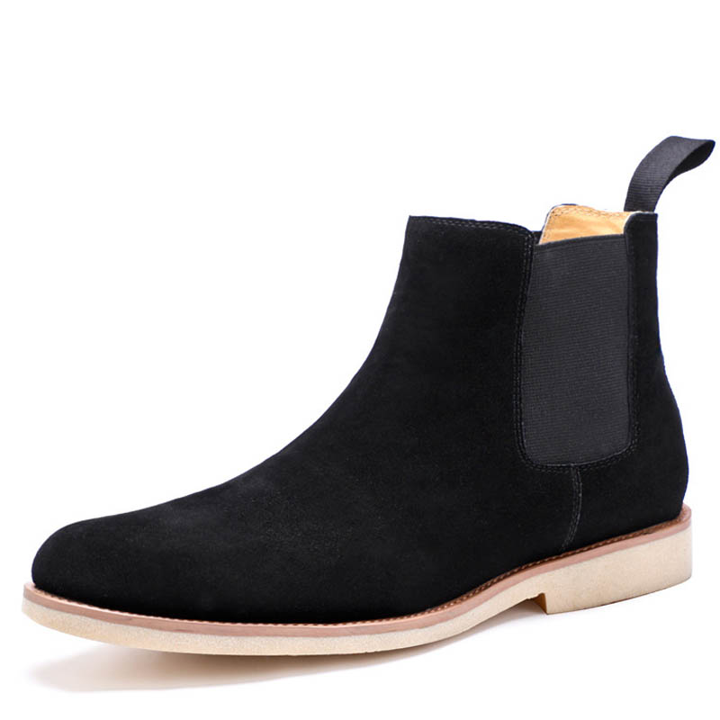High Quality British Men Boots Autumn Shoes Chelsea boots Slip On ankle boots Cow Suede Leather Male Botas Bottes pour hommes