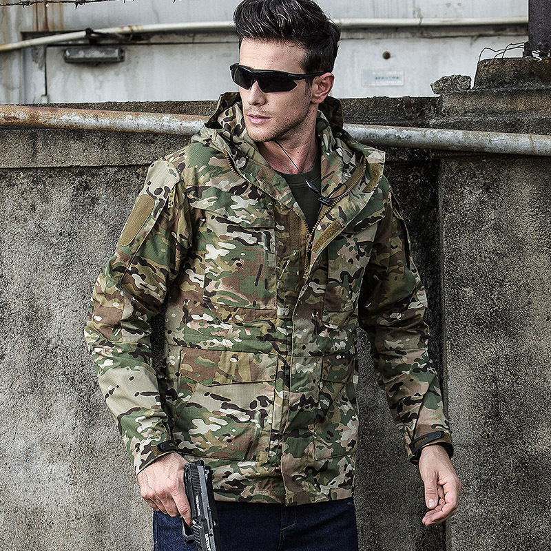 GEJIAN 男性のジャケット戦術生き抜く通気性軽量ウインドブレーカージャケットメンズ服コート軍事爆撃戦術的なジャケット  グループ上の メンズ服 からの ジャケット の中 3