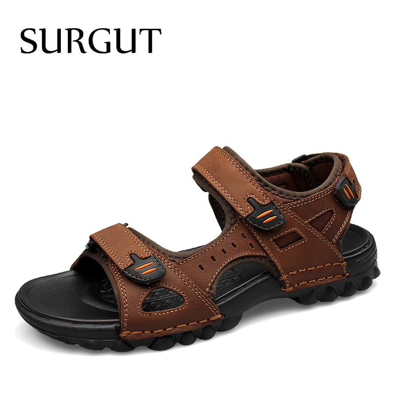 SURGUT Brand Hot Sale Men Sandals Genuine Leather Men Beach Roman Men Casual Shoes Men Slippers Summer Shoes Big Size 38~48