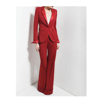 Customized new red fashion women's suit two-piece suit (jacket + pants) ladies single button casual business formal suit