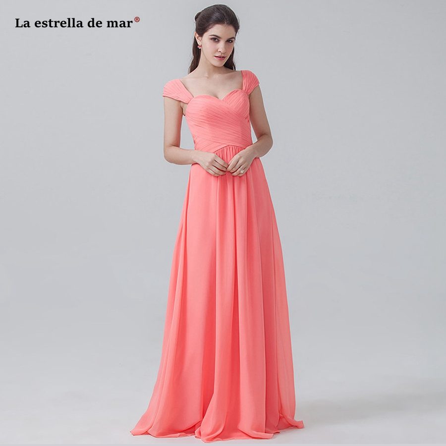 Long Dress For Wedding Party For Woman High Quality Chiffon Sexy Sweetheart Cap Sleeve A Line Watermelon Red Braidsmaid Dresses