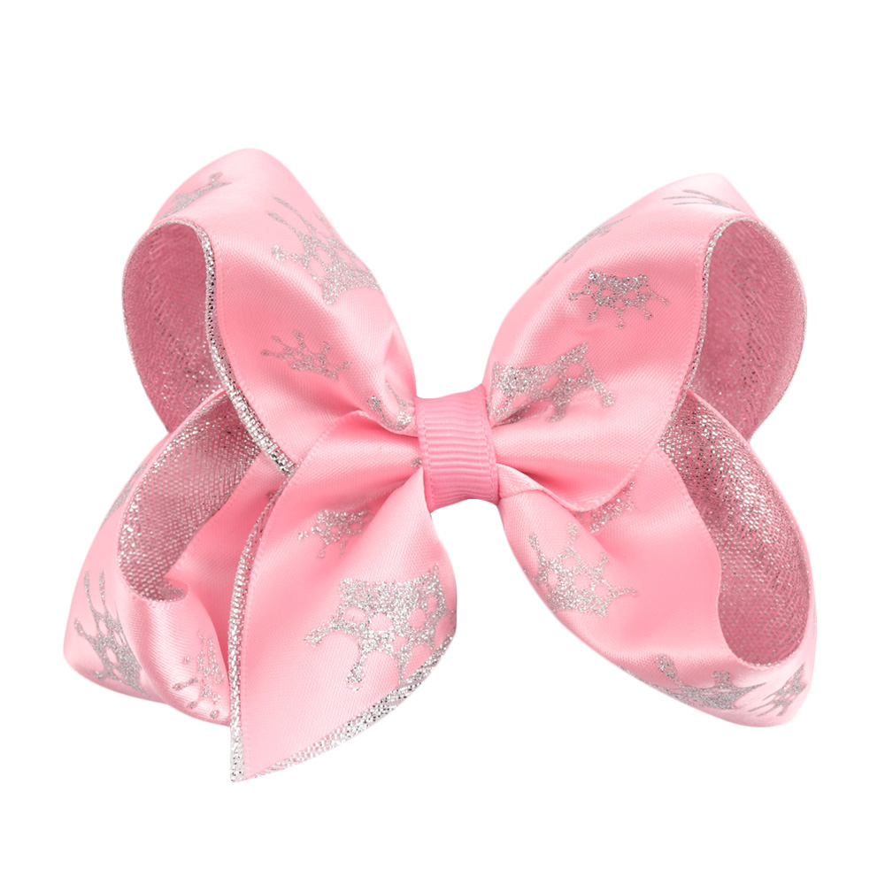 2 Pieces/lot 4 Girls Crown Hair Bows With Hair Clips Handmade Double Layers Glitter Bows For Kids Hairgrips Hair Accessories 2pcs lot printed crown hair bows layered grosgrain ribbon hairbow for kids girls hairgrips handmade hair accessories