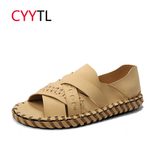 CYYTL Summer Fashion Men Sandals Outdoor Beach Water Shoes 2019 New Brand Casual Open Toe Sneakers Leather Male Sandalias Hombre