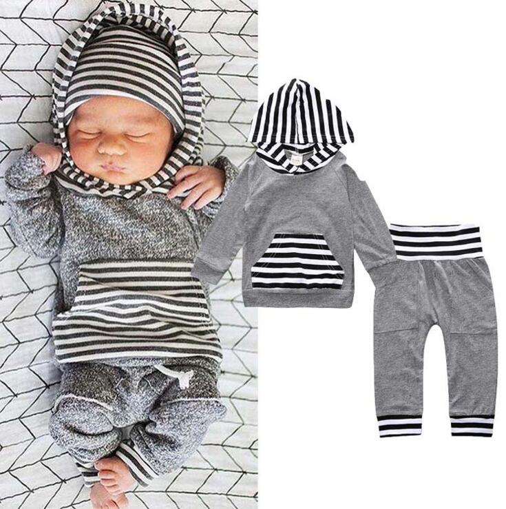2017 baby hot sales children boys and girls outwear stripe hoodie clothes set infant cute clothing set