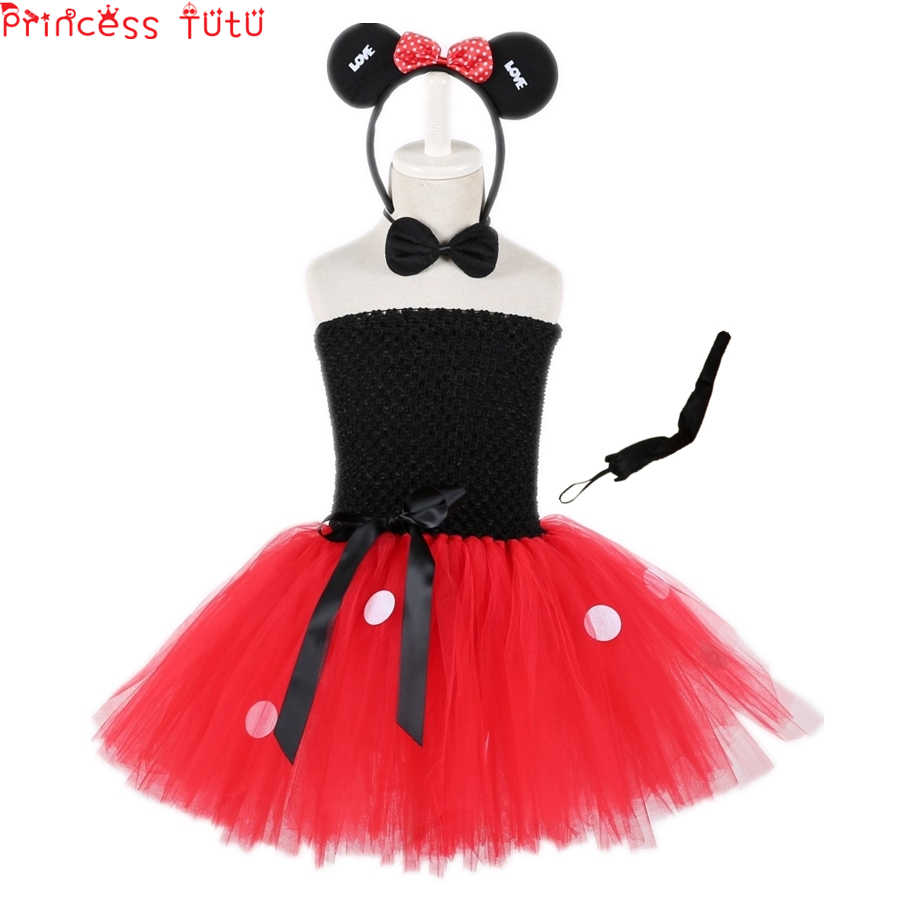 f0dcf4d8ce401 Halloween Mickey Mouse Suit Tutu Dress Cute Animal Christmas Cosplay Dress  Kid Girl Birthday Party Dress+Bow Tie Headwear Tail