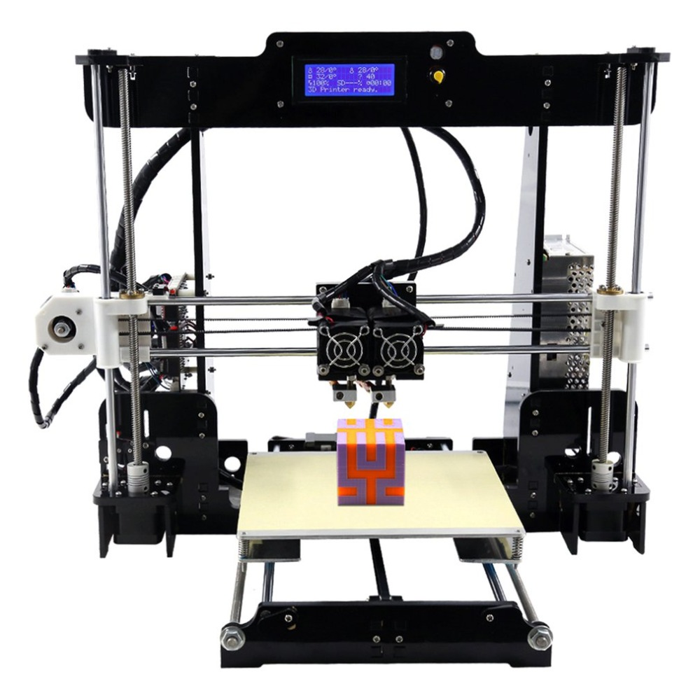 A8-M 3D Printer Dual Extruder Double Colors Printing Prusa i3 with Heated Bed High-precisio Free Testing Filament US creality 3d cr 10 cr 10s 3d printer with aluminum heated bed high precisio free testing filament free tool set free shipping