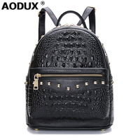 Aodux 2018 Crocodile Pattern Real Genuine Leather Cowhide Women's Backpack School Shopping Bag Party Ladies Female Backpacks