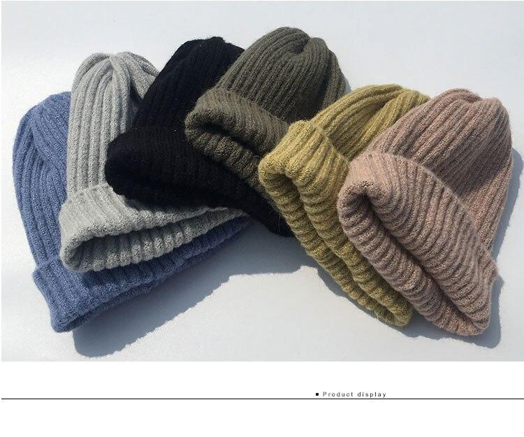 beanie women winter hats for women thick wool skullies beanies for ladies winter beanie hat solid pink black women hats winter hat  (2)