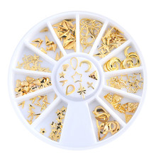 Gold Mixed 3D DIY Hollow Stars Moon Design Metal Rivets Nail Art Decoration Jewelry Accessories