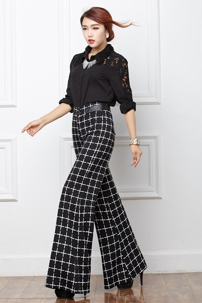 autumn winter black white plaid pants women long office wide leg ...