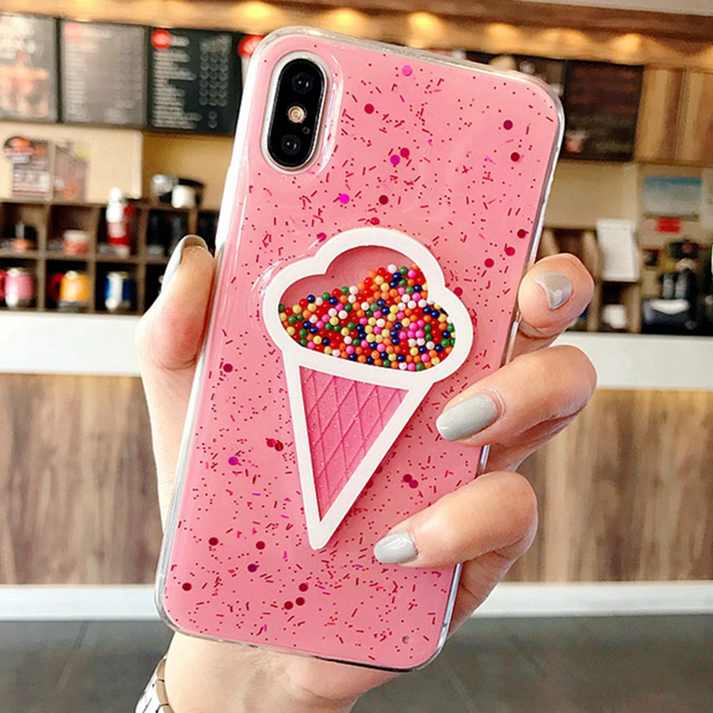 Soft Silicon Case For iphone XS Max 7 8plus Bling Pink 3D Ice Cream Coque Cover For iphone 8 XS 6 plus iphone10 XR Glitter Cases in Fitted Cases from Cellphones Telecommunications