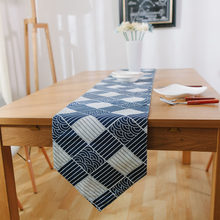 Hot 1PC 30*220cm Large Size Japanese Blue Waves Household Cotton Linen Table Runner Hotel Cafe Nordic Grey Stripes table Runners(China)