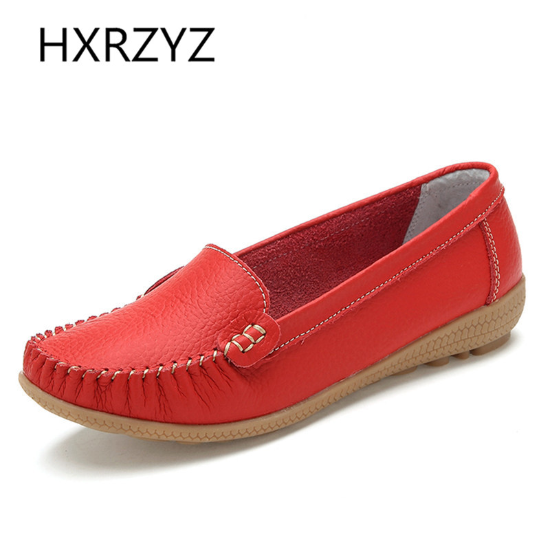 HXRZYZ Spring/Autumn new fashion flats women shoes Soft Round Toe women Casual Shoes genuine leather Loafers flats black flats
