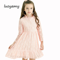 Baby Girls Lace Beach School Dress 2017 Autumn Hollow Out Clothing Children Party And Wedding Kids