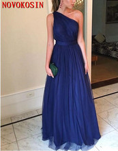 One Shoulder Bridesmaid Dresses 2019 For Weddings Royal Blue Plus Size Formal Maid of Honor Pleat Tulle Party Gown