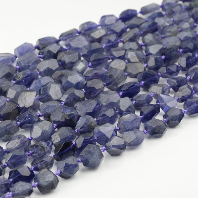 Natural Good Quality Iolite Faceted Nugget Beads 6-8mm 1