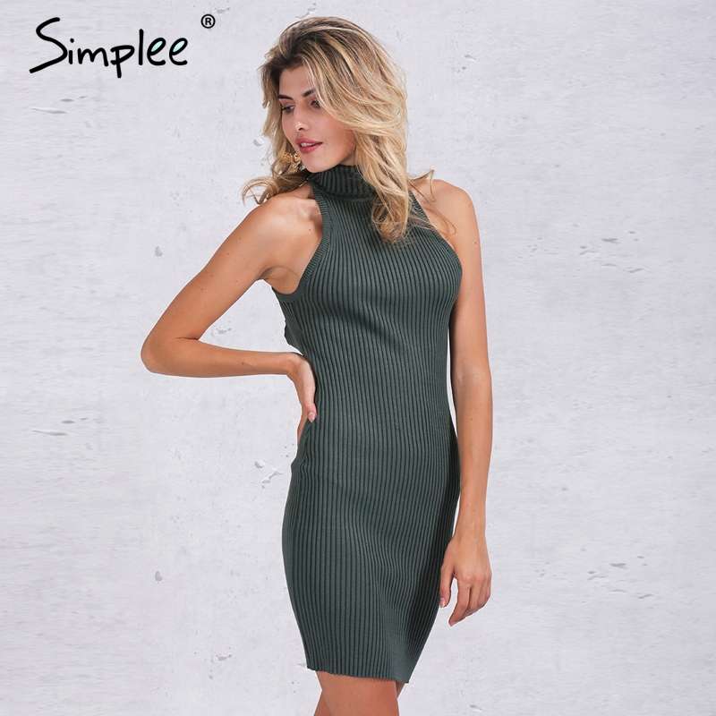 Simplee Autumn backless knitted <font><b>bodycon</b></font> <font><b>dress</b></font> <font><b>Women</b></font> back cross short <font><b>dress</b></font> Winter <font><b>ribbed</b></font> black sexy <font><b>dress</b></font> 2016 evening vestidos