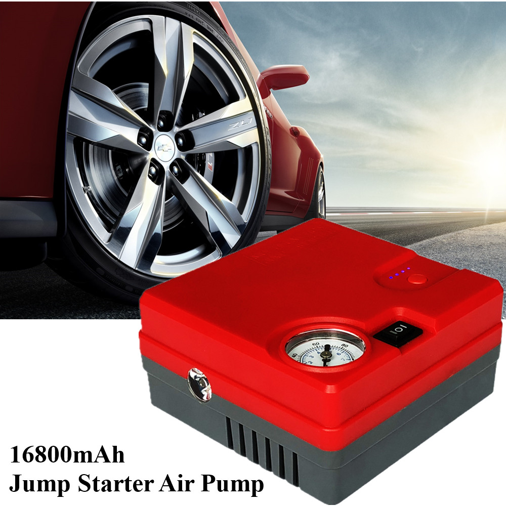 Car Jump Starter Air Pump Portable Starting Device Power Bank 16800mAh Car Battery Charger Booster Inflatable Pump Car Starter hyundai пороги алюминиевые luxe silver 1800 серебристые grand santa fe 2014