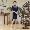 Plus Size Cheongsam Blue Winter Women Half Sleeve  Velvet  Chinese Traditional Dress Sexy Female Autumn Qipao Party Dress 18