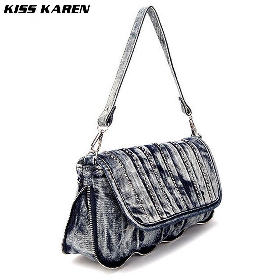 ФОТО KISS KAREN Fashion Rivets Denim Bag Women Shoulder Bags Jeans Handbags Women's Crossbody Bags Classic Cowboy Flap Clutch Bag
